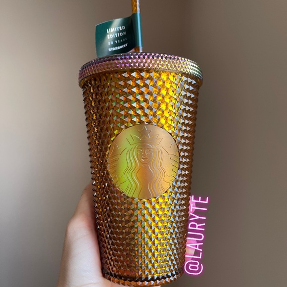 Starbucks 2021 Grande Honeycomb Gold Studded